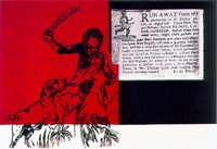 Runaway from my plantation, 1997/99, Siebdruck auf Leinwand, 145x100cm